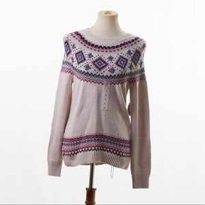 Old Navy Cream/ MultiColor Crew Neck Sweater Small